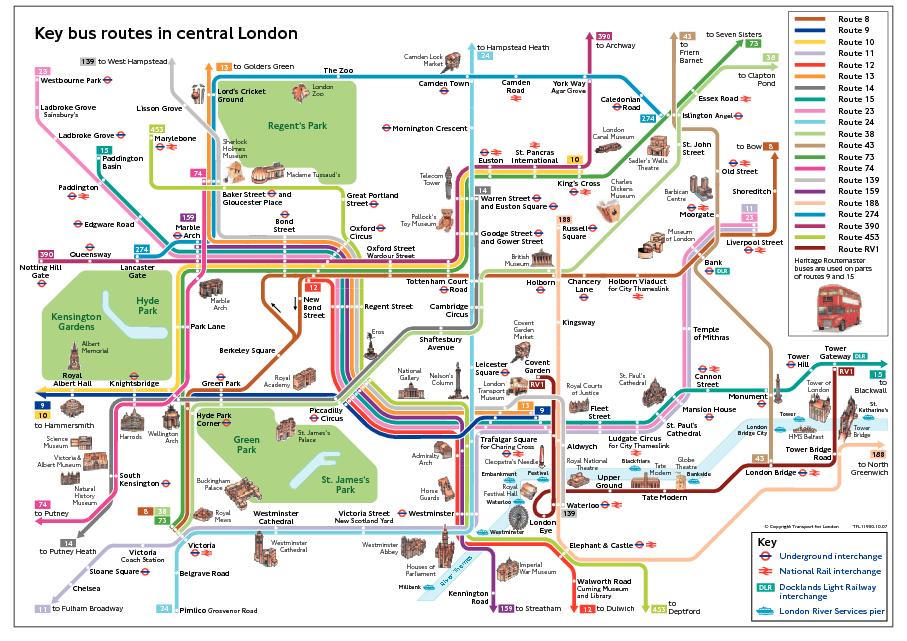 Transporte Público de Londres: Mapa Buses Londres Centro